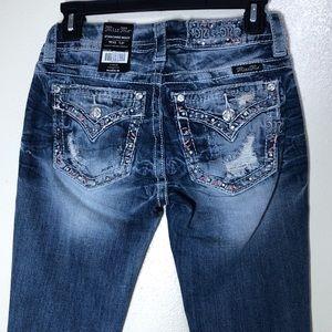 🔵 Miss Me Jeans Standard Slim Fit Distressed Boot